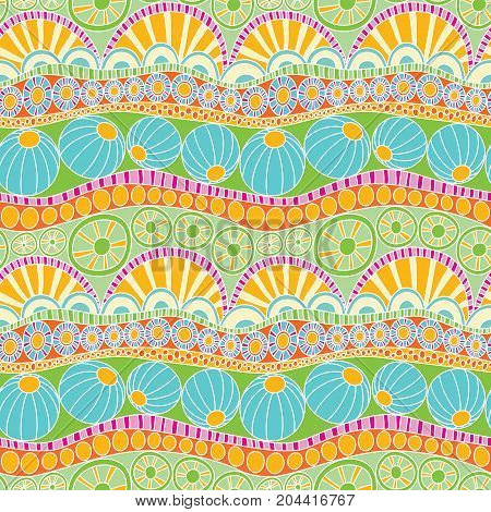 Abstract colorful doodle pattern. Hand drawn doodle seamless pattern for textile design, wrapping paper, scrapbooking.