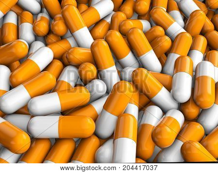 Capsule Pills Background 3D Illustration