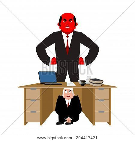 Businessman Scared Under Table Of Angry Boss. Deadline. Frightened Business Man Under Work Board.  V
