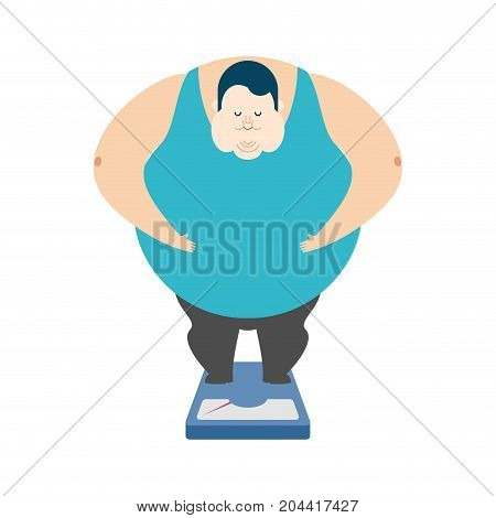 Fat Guy On Scales. Glutton Thick Man. Fatso Vector Illustration