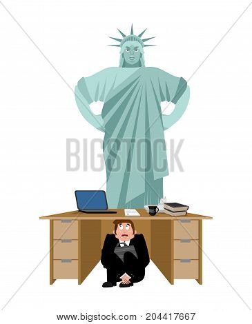 Businessman Scared Under Table Of Statue Of Liberty. Frightened Business Man Under Work Board. Angry