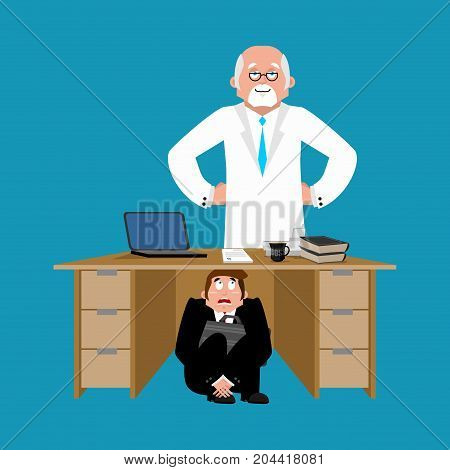 Businessman Scared Under Table Of Doctor. To Hide From Treatment. Frightened Business Man Under Work