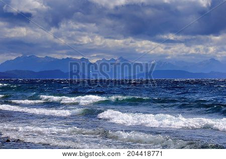 View of Nahuel Huapi lake by San Carlos de Bariloche at windy day time. North Patagonia. Argentina.