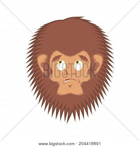Bigfoot  Guilty Emoji. Yeti  Delinquent Face. Abominable Snowman Culpable Avatar. Vector Illustratio
