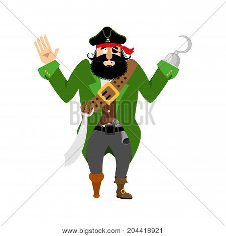 Pirate Surrenders. Filibuster Apologize. Buccaneer Guilty. Vector Illustration