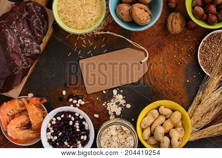 Food rich of copper - Cu. Healthy diet for high hemoglobin, against varicose and anemia. Top view
