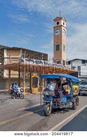 Nakhon Phanom, Thailand - May 2017: Vietnamese Memorial Clock Tower, Historical Landmark Of Nakhon P