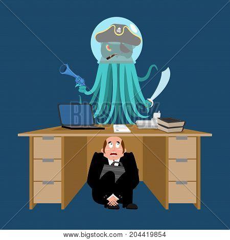 Businessman Scared Under Table Of Alien Invader. Frightened Business Man Under Work Board. Space Pir