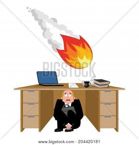Businessman Scared Under Table Of Meteorite. Frightened Business Man Under Work Board. Comet Firebal