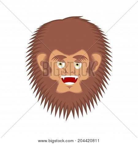 Bigfoot Happy Face. Yeti Cheerful Emoji. Abominable Snowman Merry Avatar. Vector Illustration