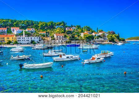 Seafront summer view at amazing landscape in town Hvar, famous luxury travel resort in Europe.