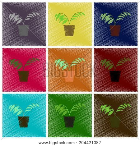 assembly flat shading style icons Ficus interior