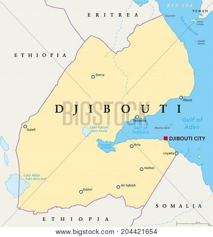 Djibouti political map with capital Djibouti City, borders and important cities. Republic and country in the Horn of Africa with coastline along the Red Sea. Illustration with English labeling. Vector