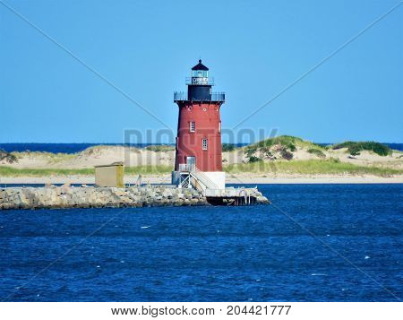 Delaware Breakwater Light is located in Cape Henlopen State Park.