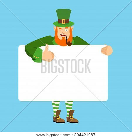 Leprechaun Holding Banner Blank. Gnome And White Blank. Magic Grandfather Joyful Emotion. St.patrick
