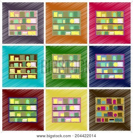 assembly flat shading style icons Bookshelf interior