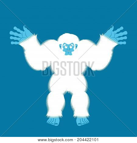 Yeti Guilty. Bigfoot Surprise. Abominable Snowman Culpablen. Vector Illustration