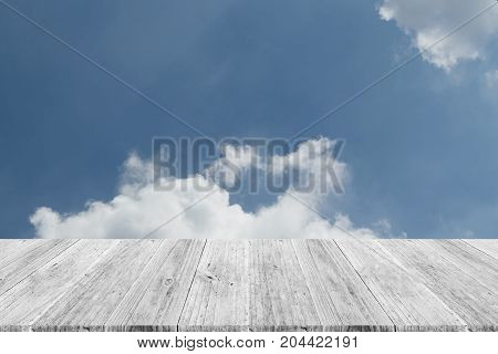 Blue Sky Cloud With Wood Terrace