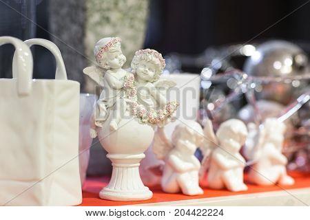 Angels Figurines On The Shelf