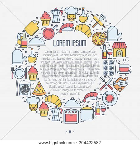 Restaurant concept in circle with thin line icons: chef, kitchenware, food, beverages for menu or print media. Vector illustration for banner, web page with place for text.