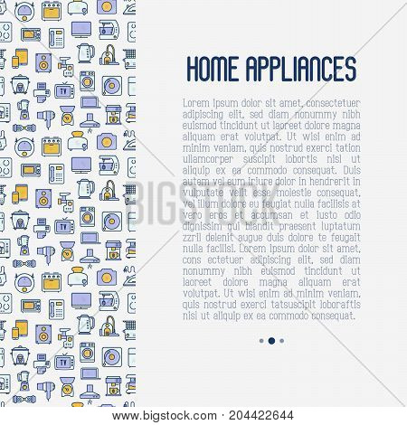 Home appliances concept with thin line icons: refrigerator, coffee machine, microwave, fryer. Household vector illustration for banner, web page, print media.