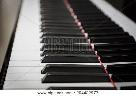 Piano keys on black classical grand piano