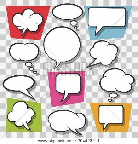 Blank speech bubbles drawn in pop art style on transparent background. Vector illustration