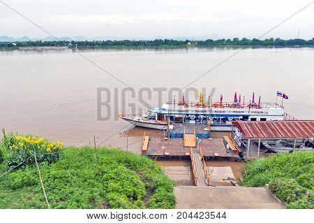 International passenger boat operated across Mekong River between city of Nakhon Phanom in Thailand and Thakhek Khammouane Province in Laos