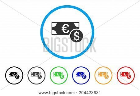 Cash icon. Vector illustration style is a flat iconic cash grey rounded symbol inside light blue circle with black, gray, green, blue, red, orange color variants.