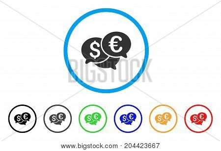 Currency Bids icon. Vector illustration style is a flat iconic currency bids gray rounded symbol inside light blue circle with black, gray, green, blue, red, orange color variants.