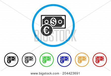 Currency Cash icon. Vector illustration style is a flat iconic currency cash gray rounded symbol inside light blue circle with black, gray, green, blue, red, orange color versions.