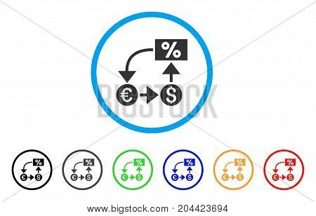 Currency Cashflow icon. Vector illustration style is a flat iconic currency cashflow grey rounded symbol inside light blue circle with black, gray, green, blue, red, orange color variants.