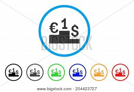Currency Competition icon. Vector illustration style is a flat iconic currency competition gray rounded symbol inside light blue circle with black, gray, green, blue, red,