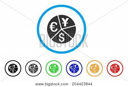 Currency Pie Chart icon. Vector illustration style is a flat iconic currency pie chart grey rounded symbol inside light blue circle with black, gray, green, blue, red,