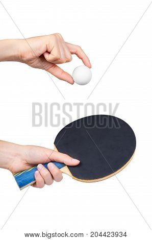 Ping-pong In Hand Isolated On White Background