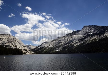 Blue Lake and mountains in Yosemite national park USA