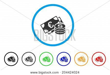 Dollar And Euro Cash icon. Vector illustration style is a flat iconic dollar and euro cash gray rounded symbol inside light blue circle with black, gray, green, blue, red, orange color variants.
