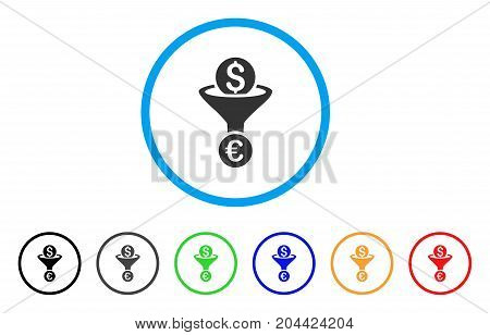 Dollar Euro Conversion Funnel icon. Vector illustration style is a flat iconic dollar euro conversion funnel gray rounded symbol inside light blue circle with black, gray, green, blue, red,