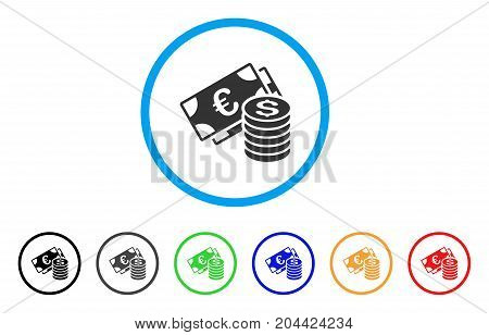 Euro And Dollar Cash icon. Vector illustration style is a flat iconic euro and dollar cash gray rounded symbol inside light blue circle with black, gray, green, blue, red, orange color versions.