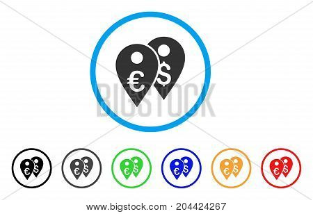 Euro And Dollar Map Markers icon. Vector illustration style is a flat iconic euro and dollar map markers gray rounded symbol inside light blue circle with black, gray, green, blue, red,
