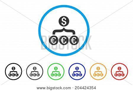 Euro Dollar Conversion Aggregator icon. Vector illustration style is a flat iconic euro dollar conversion aggregator grey rounded symbol inside light blue circle with black, gray, green, blue, red,