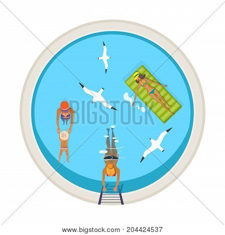 Summer vacation and travel to sea. People having rest on sea. Mom teaches the child to swim, the girls relax in the water and swim on the inflatable mattress, top view. Vector illustration isolated.