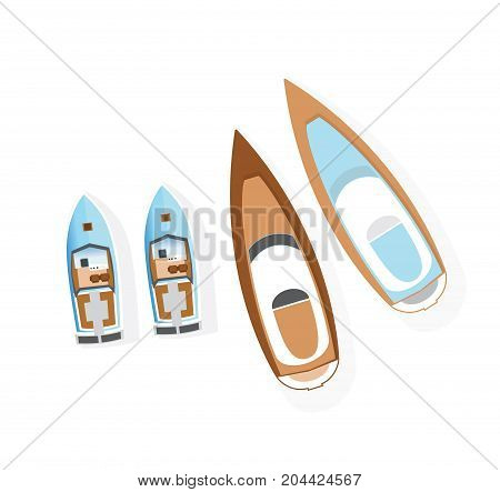 Set of boats from above. Boats and motor boats. Water type of transport and transportation. Vector illustration isolated on white background.