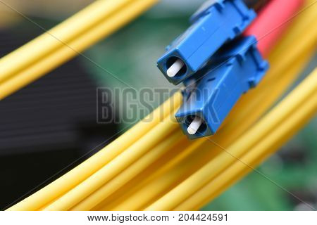 Optical fiber cable patch cord on computer motherboard, optical network technology