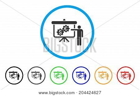 International Industry Presentation icon. Vector illustration style is a flat iconic international industry presentation gray rounded symbol inside light blue circle with black, gray, green, blue,
