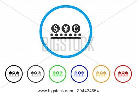 Money Conveyor icon. Vector illustration style is a flat iconic money conveyor grey rounded symbol inside light blue circle with black, gray, green, blue, red, orange color additional versions.