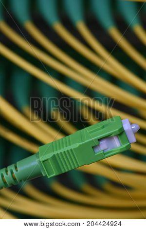 Optical fiber connector close up and distribution frame panel
