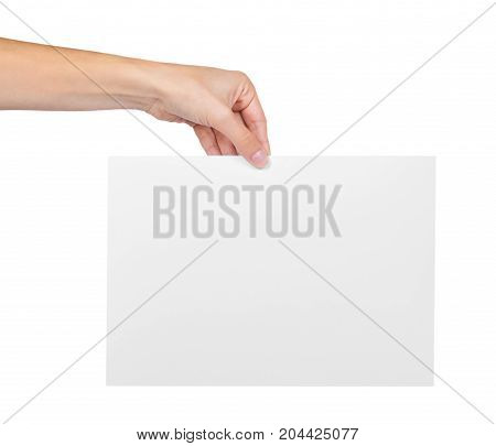 Hands Holding Paper Blank Isolated On White Background