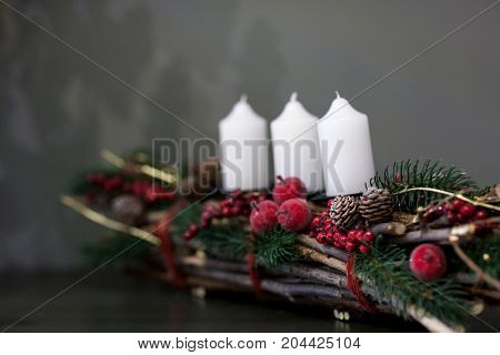 Decorations Christmas Candles On Gray Background