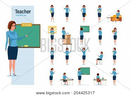 Teacher character person set. Teacher at blackboard, chalkboard with a magazine, on break, on teacher's day, at lecture and seminar, in classroom, at teacher's table. Education in classroom.